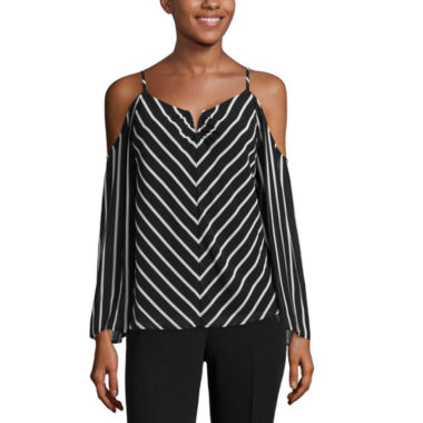 jcpenney.com | nicole by Nicole Miller Striped Cold Shoulder Top