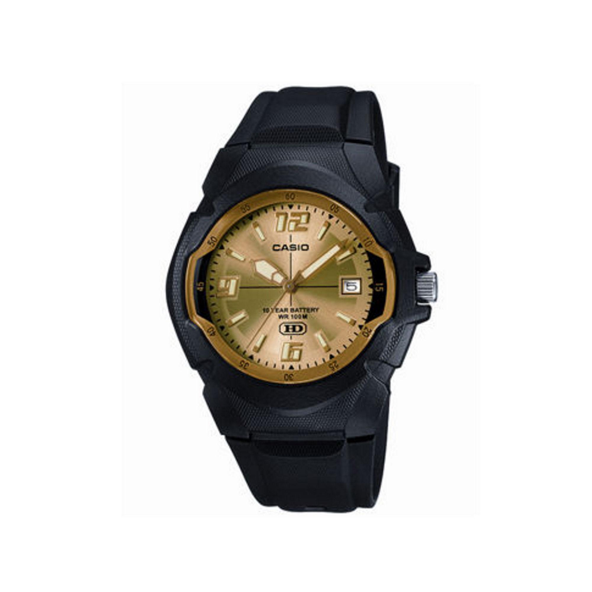 Casio Mens Champagne Dial Black Resin Strap Sport Watch MW600F-9AV
