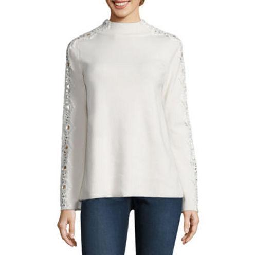 Stylus Long Sleeve Mock Neck Pullover Sweater-Talls