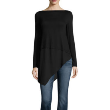 jcpenney.com | a.n.a Long Sleeve Crew Neck Knit Blouse-Talls
