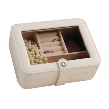 jcpenney.com | Mele & Co. Rio Faux-Leather Glass-Top Ivory Jewelry Box