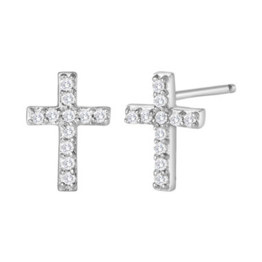 jcpenney.com | 1/10 CT. T.W. Diamond Mini Cross Earrings