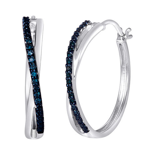 "1/10 CT. T.W. Color-Enhanced Blue Diamond ""X"" Hoop Earrings"