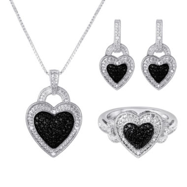 jcpenney.com | 1/10 CT. T.W. White & Color Enhanced Black Diamond Heart 3-pc. Jewelry Set