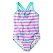 Breaking Waves One-Piece Striped Swimsuit – Girls 7-16 and Plus