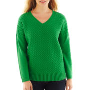 Liz Claiborne® Long-Sleeve V-Neck Cable Knit Sweater