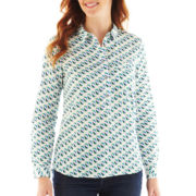 Liz Claiborne Long-Sleeve Split-Neck Popover Top