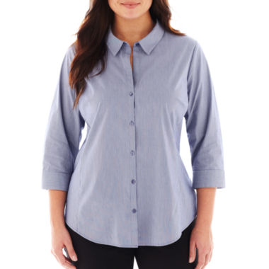 jcpenney.com | Worthington® 3/4-Sleeve Button-Front Shirt - Plus