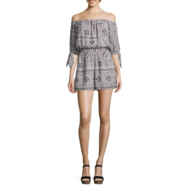 jcpenney.com | City Triangle Cold Shoulder Tie Sleeve Romper