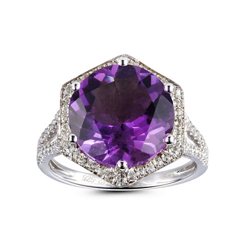 Womens Purple Amethyst Halo Ring