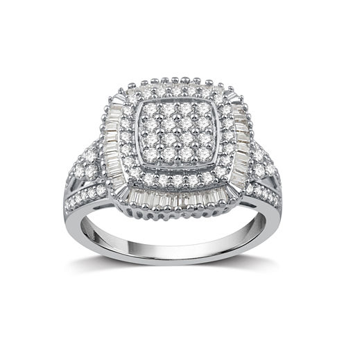 Womens 1 CT. T.W. White Diamond Sterling Silver Cocktail Ring