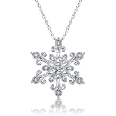 jcpenney.com | Diamond Blossom Womens 1/10 CT. T.W. White Diamond Sterling Silver Pendant Necklace