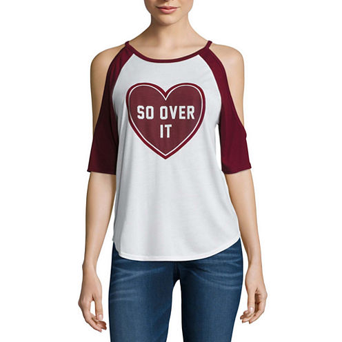 """So over it"" Cold Shoulder Graphic T-Shirt"