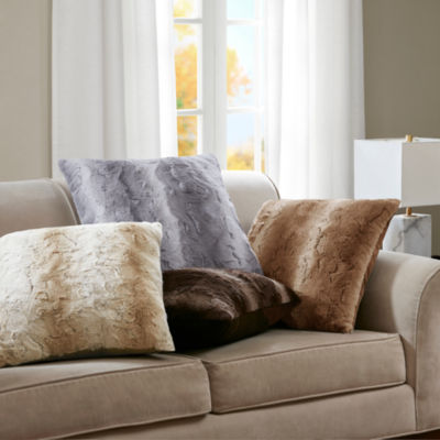 Madison Park Zuri Luxurious Faux Fur Euro Throw Pillow