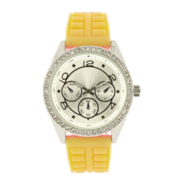 jcpenney.com | Womens Crystal-Accent Yellow Strap Watch