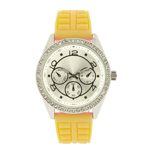Womens Crystal-Accent Yellow Strap Watch