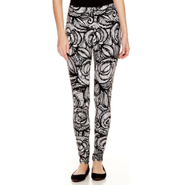 jcpenney.com | Mixit™ Black and White Print Knit Leggings