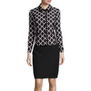 R&K Originals® Trellis Print Jacquard Jacket and Skirt Set