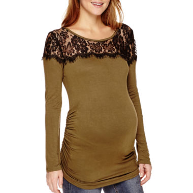 jcpenney.com | Maternity Long-Sleeve Lace Yoke T-Shirt - Plus