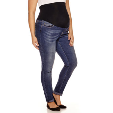 jcpenney.com | Maternity Overbelly Roll Cuff Skinny Jeans - Plus