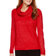 Worthington® Long-Sleeve Cowlneck Sweater - Petite