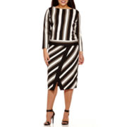 Worthington® Long-Sleeve Boatneck Striped Top or Scuba Tipped Envelope Skirt