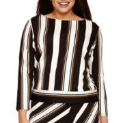 Worthington® Long-Sleeve Boatneck Striped Top - Plus