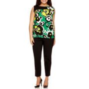 Worthington® Sleeveless Colorblock Side-Drape Blouse or Ankle Pants - Plus