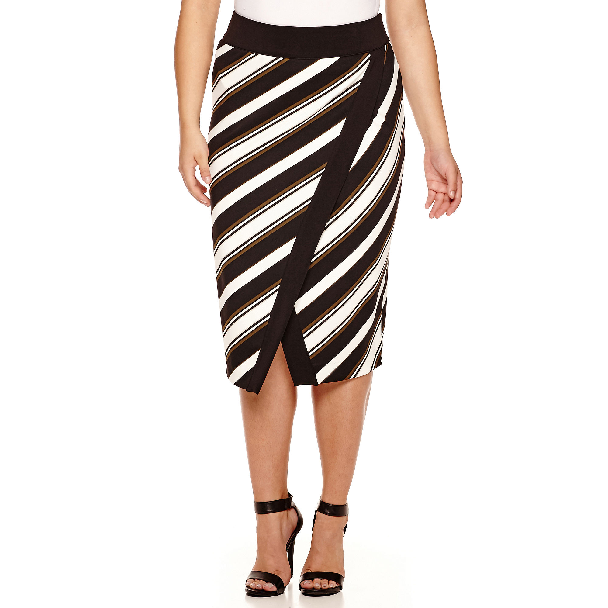 Worthington Scuba Tipped Envelope Pencil Skirt- Plus
