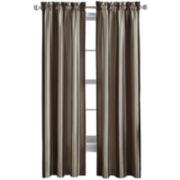 Faux-Silk Stripe Rod-Pocket Curtain Panel