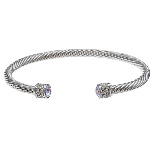 Sparkle Allure Womens Silver Over Brass Bangle Bracelet
