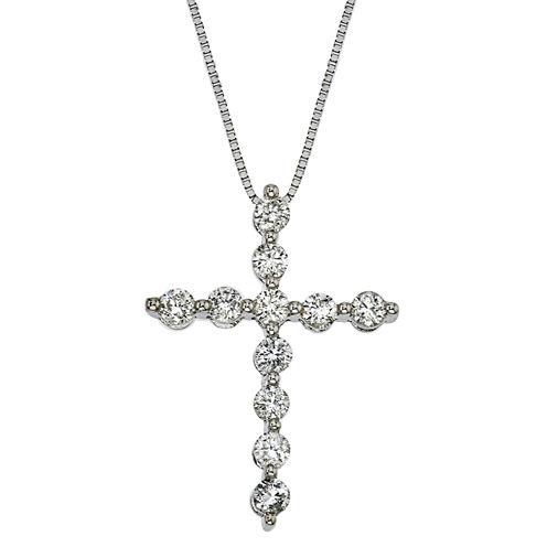 Womens 1/2 CT. T.W. White Diamond 14K Gold Pendant Necklace