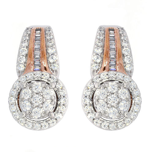 Diamond Blossom White Diamond 10K Gold Drop Earrings