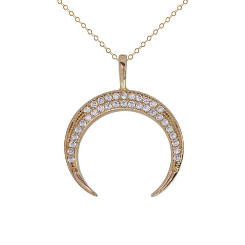 Petite Lux Womens White Cubic Zirconia 10K Gold Pendant Necklace