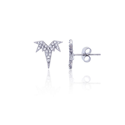 Round White Sterling Silver Cubic Zirconia Bat Stud EarringZirconia Stud Earrings