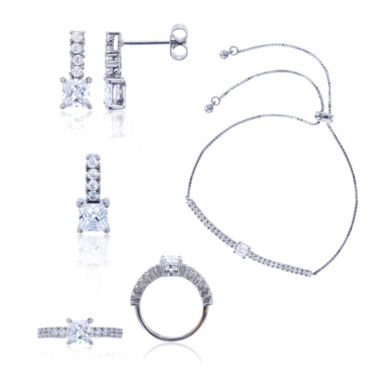 jcpenney.com | Sterling Silver Princess Cut Cubic Zirconia 4-pc Jewelry Set