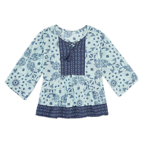 Arizona 3/4 Sleeve Boho Printed Woven Top - Girls' 7-16 and Plus