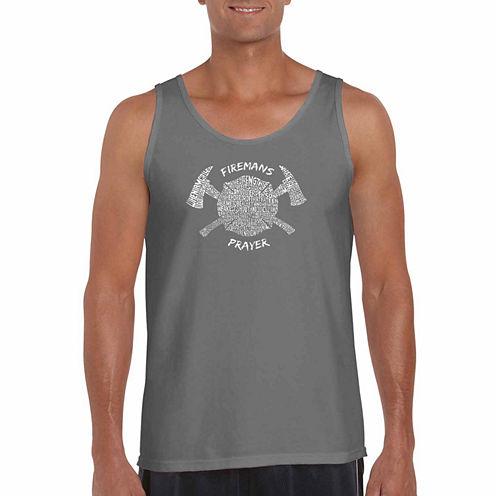 Los Angeles Pop Art Firemansprayer Short Sleeve Crew Neck T-Shirt-Big And Tall