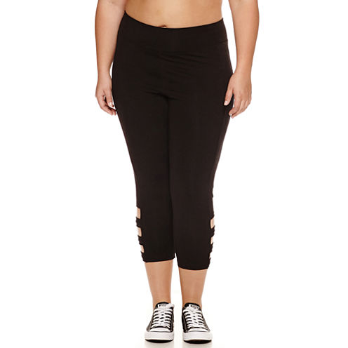 Flirtitude Jersey Workout Capris Juniors Plus - JCPenney