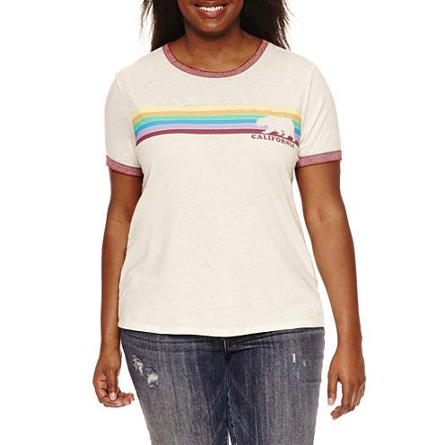 Short Sleeve Burnout Ringer Crew Neck Graphic T-Shirt