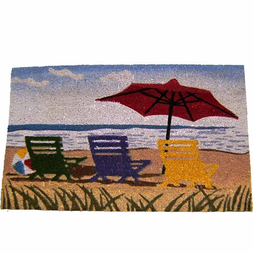 "Beach Umbrella Rectangular Doormat - 18""X30"""