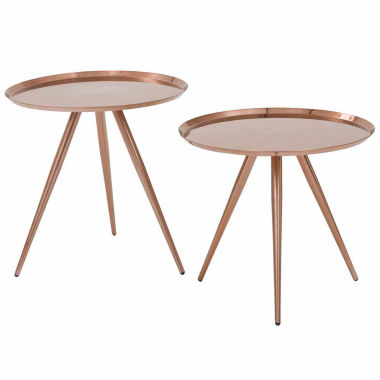 jcpenney.com | Tiffany 2-Pk Side Tables with Brushed Copper Plate finish