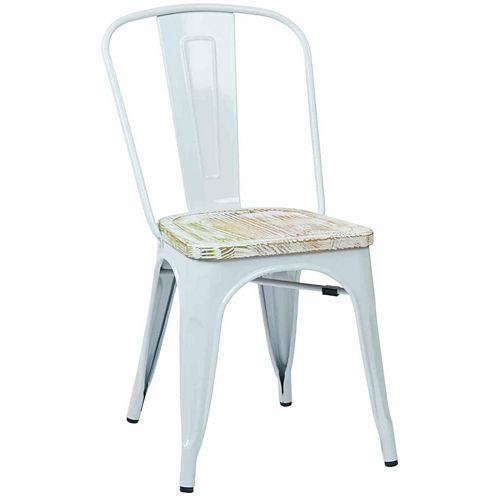 2-pc. Bristow Metal Chair Wood Seat