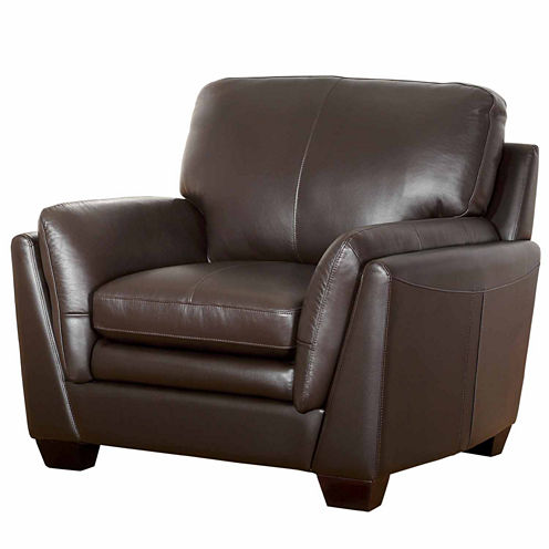 Melanie Leather Pad-Arm Chair