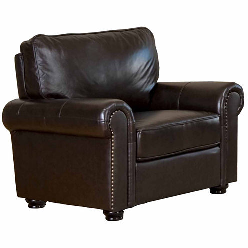 Olivia Leather Roll-Arm Chair