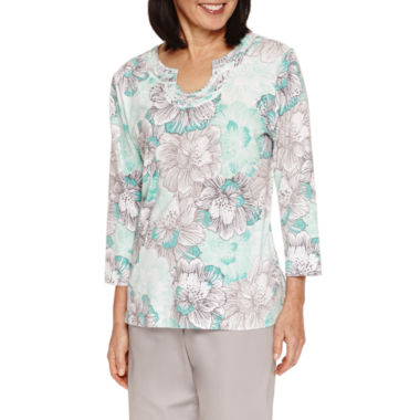 jcpenney.com | Alfred Dunner Mint To Be Short Sleeve V Neck T-Shirt