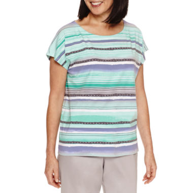 jcpenney.com | Alfred Dunner Mint To Be Short Sleeve Boat Neck T-Shirt