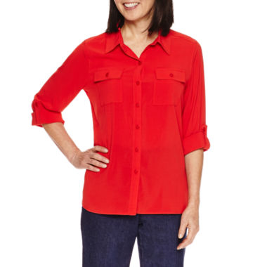 jcpenney.com | Alfred Dunner Uptown Girl Long Sleeve Button-Front Shirt