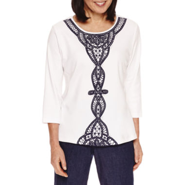 jcpenney.com | Alfred Dunner Uptown Girl 3/4 Sleeve Crew Neck T-Shirt