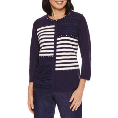 jcpenney.com | Alfred Dunner Stripe Patch Sweater